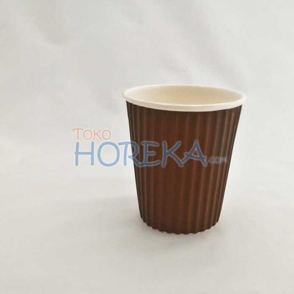 paper cup 8 oz double wall ulir/ripple/gelombang coklat-1