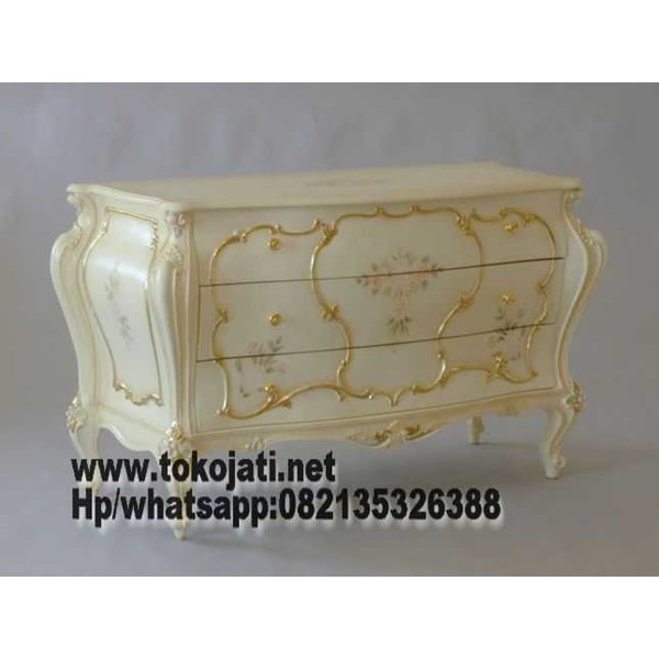 furniture jati kabinet jati ukir cat ivory klasik 136