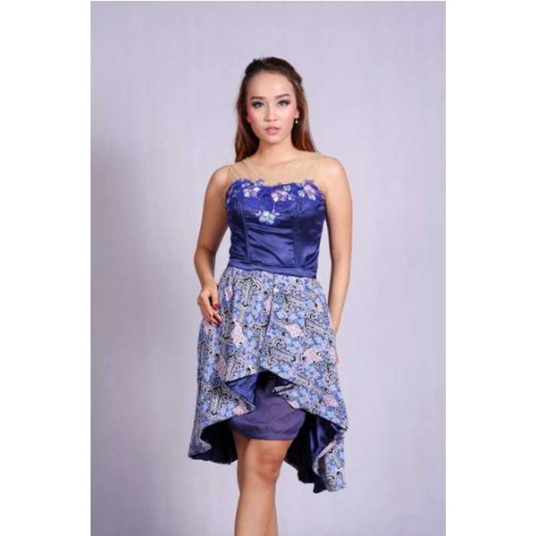 batik wanita - dress batik pesta puspita biru rr1732