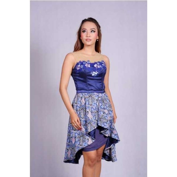 batik wanita - dress batik pesta puspita biru rr1732-1