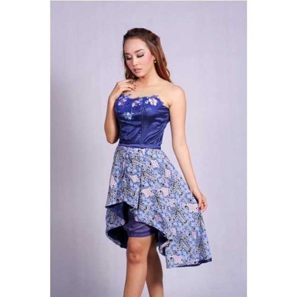 batik wanita - dress batik pesta puspita biru rr1732-3