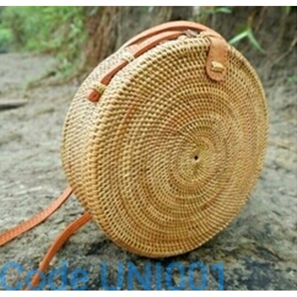circle bag round ata grass hand woven handbags flower trap handmade