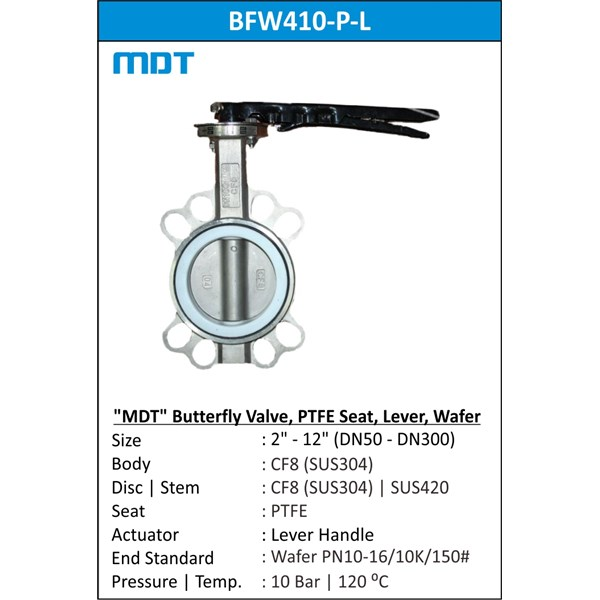 mdt | bfw410-p-l | butterfly valve, ptfe seat, lever-1