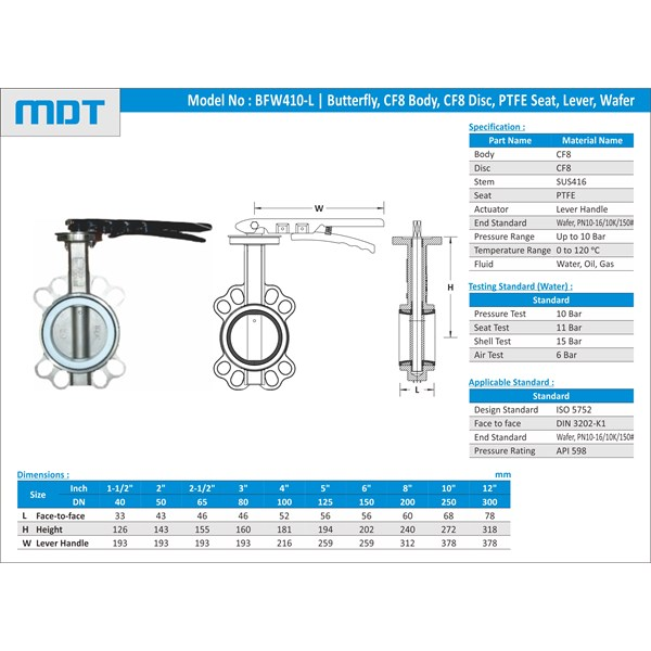 mdt | bfw400-p-l | butterfly valve, ptfe seat, lever