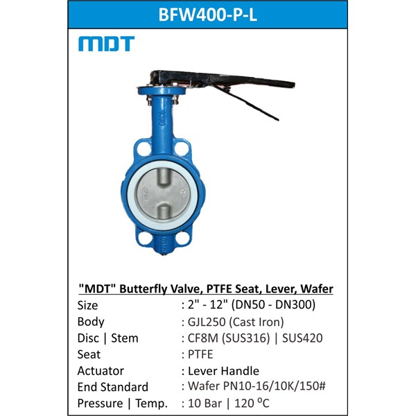mdt | bfw400-p-l | butterfly valve, ptfe seat, lever-1