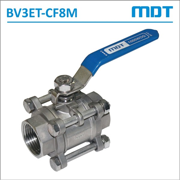 mdt | bv3et-cf8m | 3-pcs ball valve, cf8m, thread, full bore-2