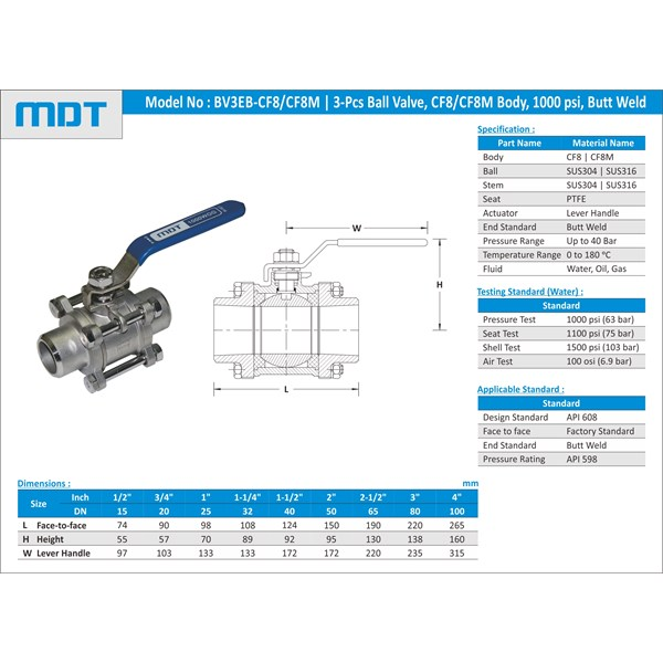 mdt | bv3et-cf8m | 3-pcs ball valve, cf8m, thread, full bore-1