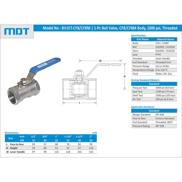 mdt | bv1et-cf8m | 1-pc ball valve, cf8m, reduce bore-1