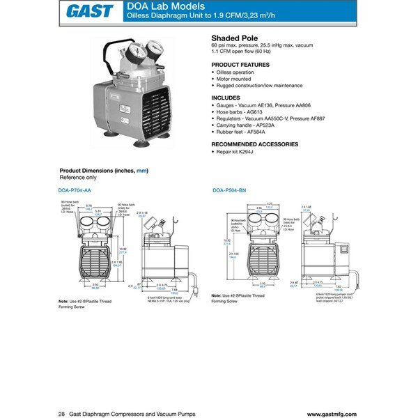 gast vacuum pump model doa-p504-bn-2