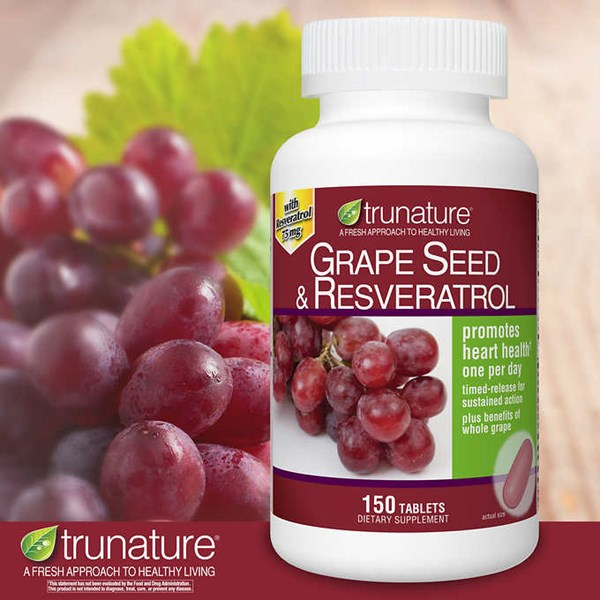 trunature grape seed & resveratrol, 150 timed-release tablets.-1
