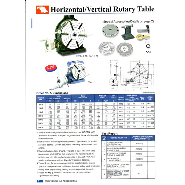 vertex rotary table mesin milling hv-10-6