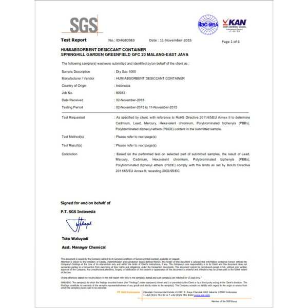 certificate of humiabsorbent desiccant-6