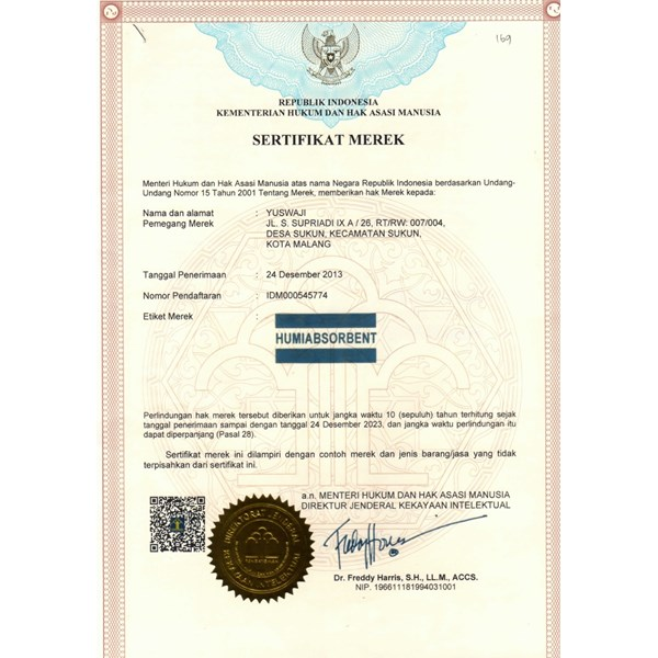 certificate of humiabsorbent desiccant-7
