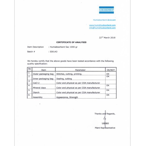 certificate of humiabsorbent desiccant-3