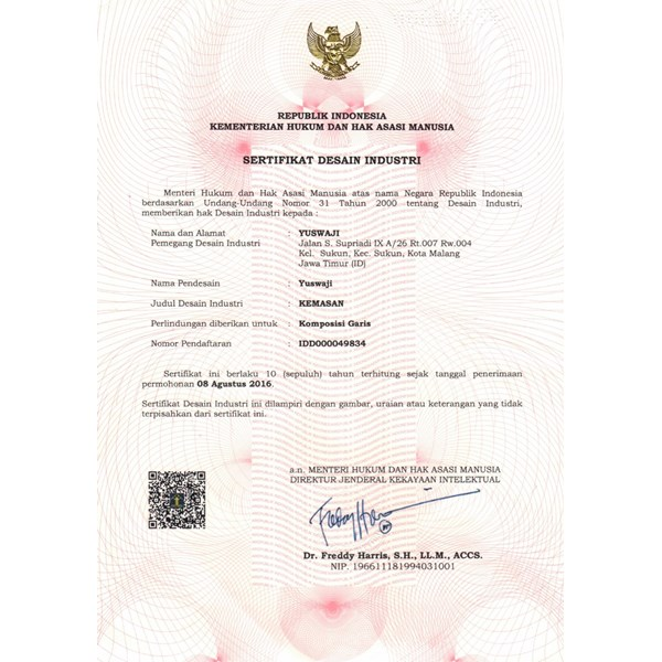 certificate of humiabsorbent desiccant-1