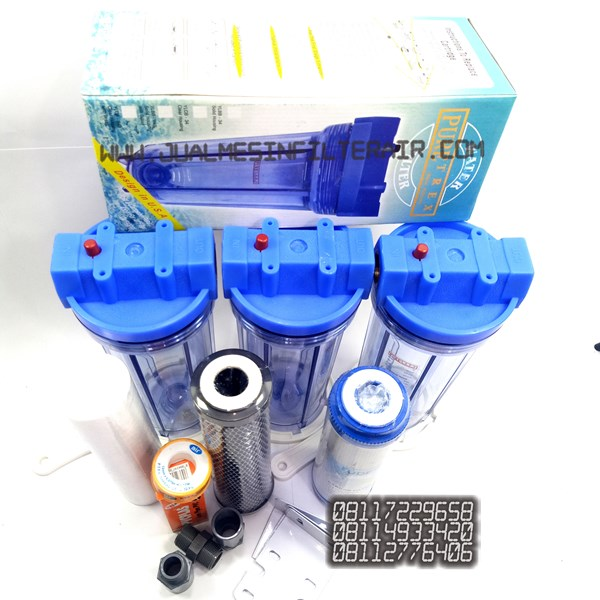 paket filter air 3tahap housing clear 10 drat kuningan