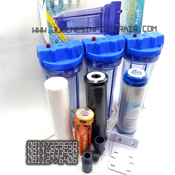 paket filter air 3tahap housing clear 10 drat kuningan-2