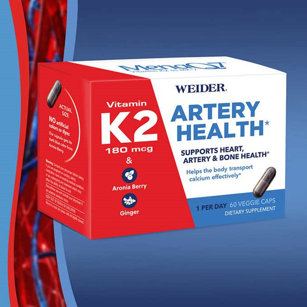 weider artery health with vitamin k2, 60 veggie caps.